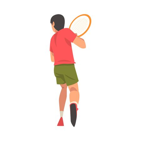 Tennis Player with Racket, Male Athlete Character in Uniform Taking Part in Competition, View From Behind Vector Illustration