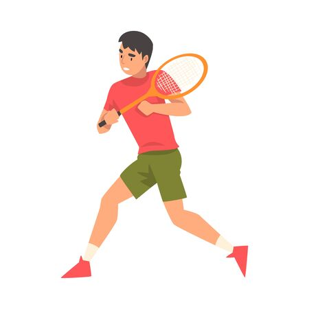 Tennis Player with Racket, Athlete Character in Uniform Running Vector Illustration