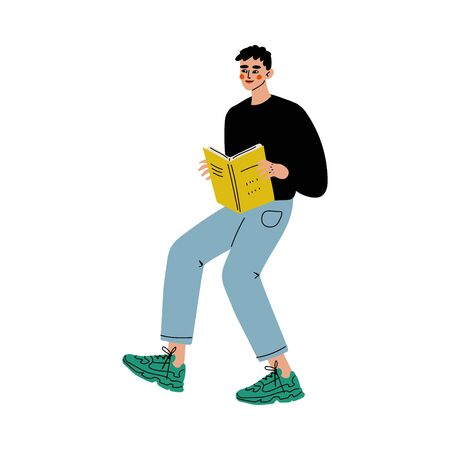 Young Man Reading Book Searching for Information Vector Illustration