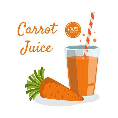 Carrot Juice Banner Template, Fresh Vegetable Drink Vector Illustration Illusztráció