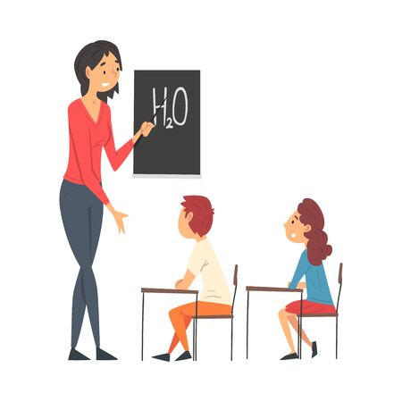 Female Teacher Teaching Students in Classroom at Chemistry Lesson Vector Illustration Vectores