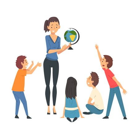 Female Teacher Teaching Students in Classroom at Geography Lesson Vector Illustration