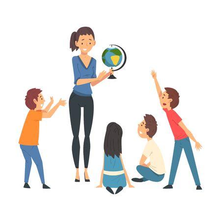 Insegnante femminile che insegna agli studenti in aula alla lezione di geografia Vector Illustration