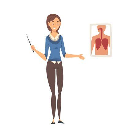 Female Teacher Standing Beside Chalkboard and Explaining Biology Lesson Vector Illustration Illustration