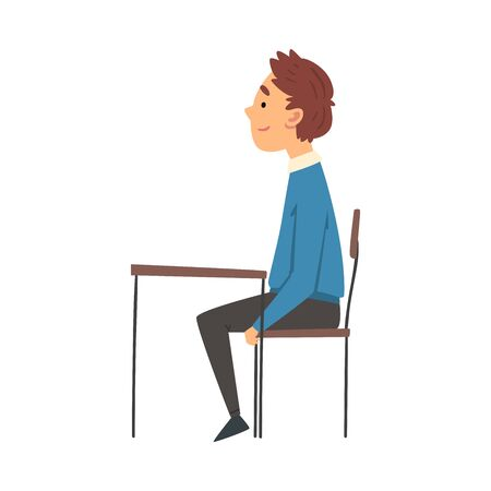 Cute Boy Sitting at the Desk in Classroom and Attentively Listening, Side View Vector Illustration Illustration