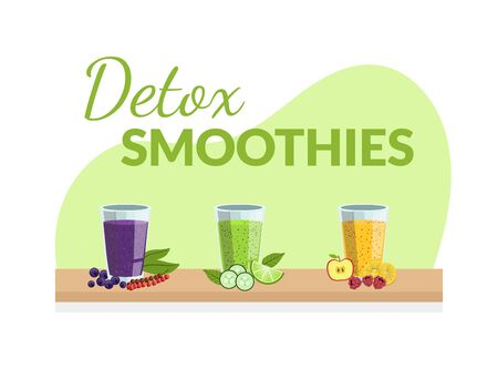 Detox Smoothies Banner Template with Fresh Drinks Made of Fruits, Berries and Vegetables Vector Illustration