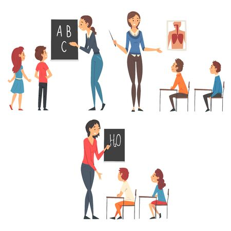 School Education Set, Teachers Teaching Students at Lessons Vector Illustration