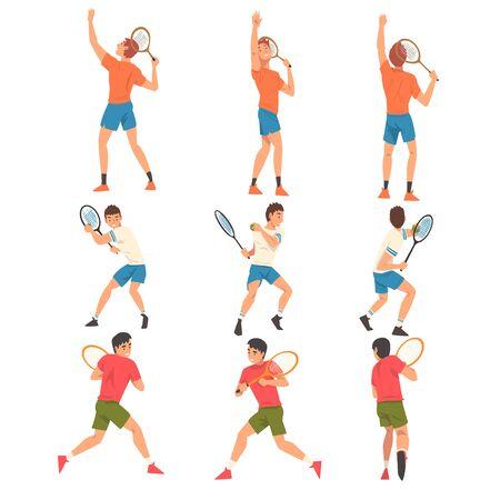 Tennis Players Set, Male Athlete Characters in Uniform with Rackets Taking Part in Competition Vector Illustration