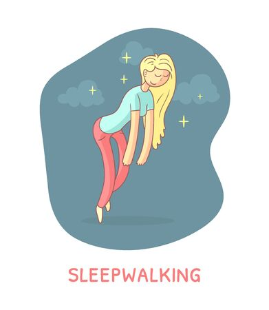 Sleepwalking Banner Template, Girl Walking at Night in a Dream Vector Illustration