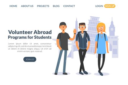 Volontariat à l'étranger, programmes pour les étudiants, modèle de page de destination, formation en éducation et en sciences, illustration vectorielle de cours d'apprentissage sur le site Web