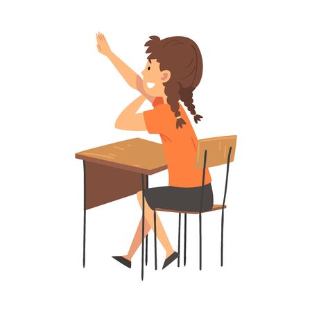 Estudiante niña sentada en el escritorio en el aula y levantando su mano, Ilustración de Vector de vista lateral