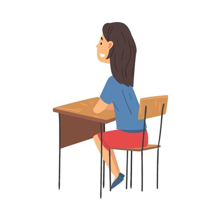 Girl Sitting at the Desk in Classroom and Attentively Listening, Side View Vector Illustration