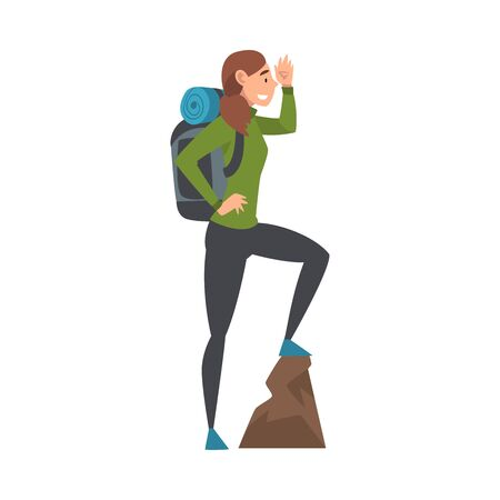 Young Woman with Backpack Standing on Top of the Mountain and Looking into the Distance, Vector Illustration Vettoriali