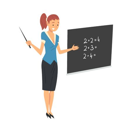 Lehrerin steht neben Tafel und erklärt Matheunterricht Vektor-Illustration