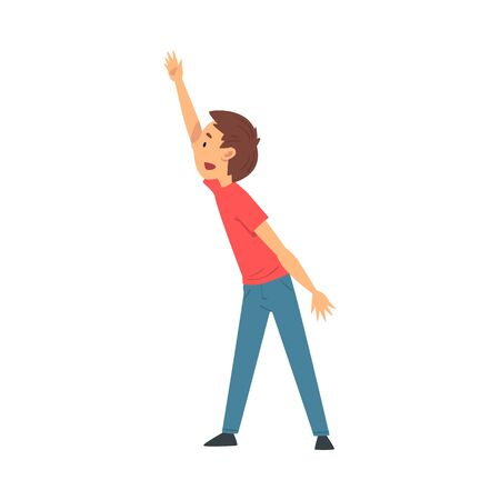 Cute Boy Student Standing and Rising his Hand Cartoon Vector Illustration