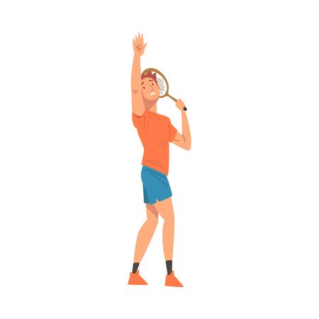 Male Tennis Player with Tennis Racket, Athlete Character in Uniform Taking Part in Competition Vector Illustration  イラスト・ベクター素材