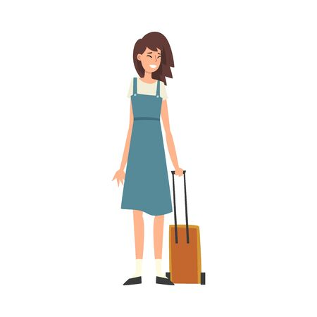 Beautiful Young Woman Standing with Suitcase on Wheels, Girl Traveling on Vacation Vector Illustration