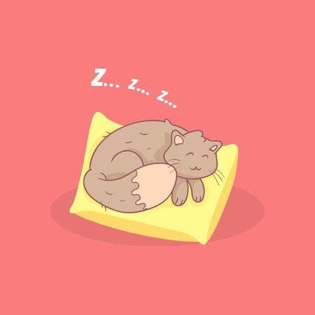 Cute Adorable Grey Cat Sleeping on a Pillow Vector Illustration Ilustrace