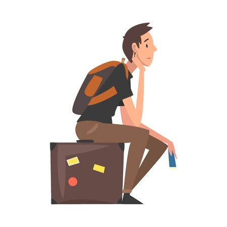 Man Sitting on Suitcase Waiting for Departure, Guy Travelling on Summer Vacation Vector Illustration