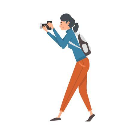 Cheerful Tourist Woman Taking Photography on Vacation Vector Illustration
