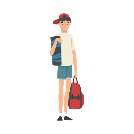 Teenage Boy Standing with Backpack, Boy Travelling on Summer Vacation Vector Illustration
