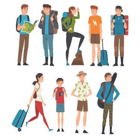 Turistas masculinos y femeninos que viajan, personas que tienen viajes de verano, viaje de mochilero o ilustración vectorial de expedición
