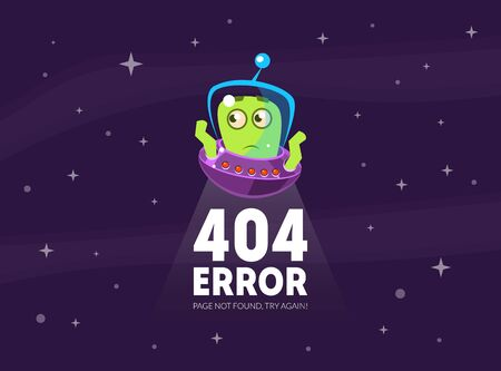 404 Error, Page Not Found, Try Again Banner Template with Cute Funny Alien in Spaceship Vector Illustration Vettoriali