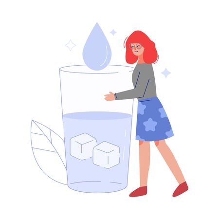 Young Woman Drinking Fresh Clean Water from Big Glass to Keep Body Healthy Vector Illustration