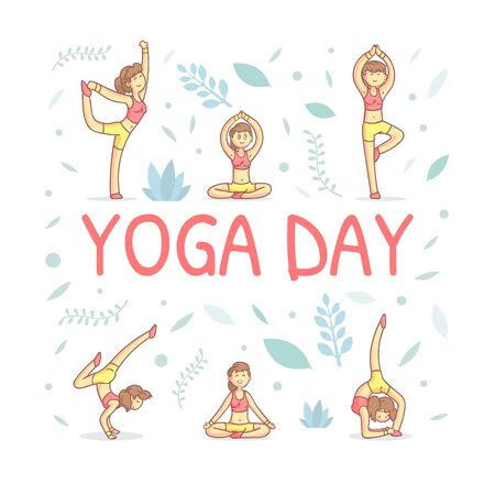 Yoga Day Banner Template with Girl Demonstrating Various Yoga Positions Vector Illustration Illustration