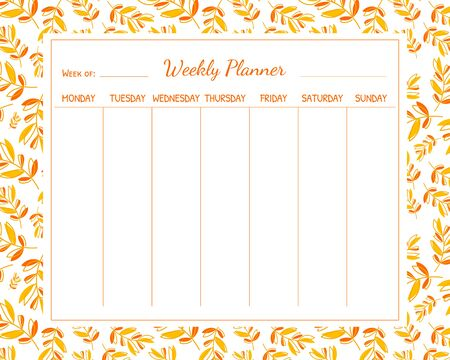 Weekly Planner Template with Autumn Leaves, Organizer and Schedule with Place for Notes Vector Illustration