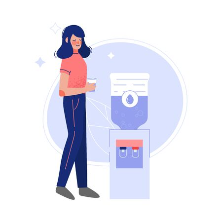 Young Woman Drinking Fresh Clean Water at the Cooler Vector Illustration 일러스트