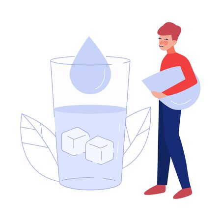 Young Man Drinking Fresh Clean Water from Big Glass to Keep Body Healthy Vector Illustration