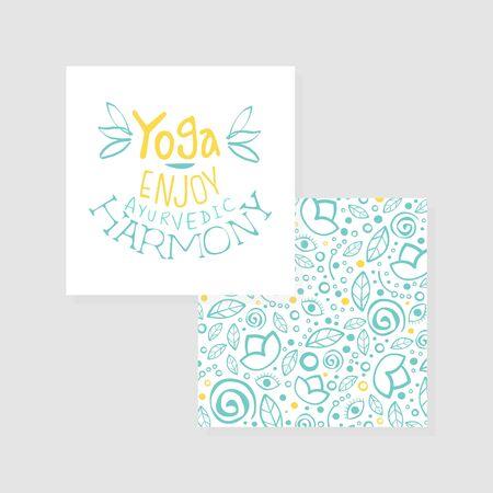 Enjoy Yoga Ayurvedic Harmony Studio Card, Flyer Template Hand Drawn Illustration Zdjęcie Seryjne - 150345935