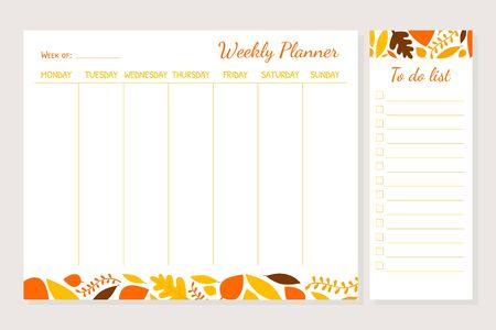 Plantilla de planificador semanal, organizador y horario con lugar para notas y lista de tareas, ilustración vectorial