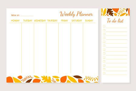 Weekly Planner Template, Organizer and Schedule with Place for Notes and To Do List Vector Illustration Ilustração