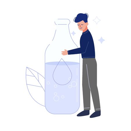 Young Man Drinking Fresh Clean Water from Big Glass Bottle to Keep Body Healthy Vector Illustration Illustration