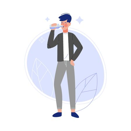 Young Man Drinking Fresh Clean Water from Bottle Vector Illustration
