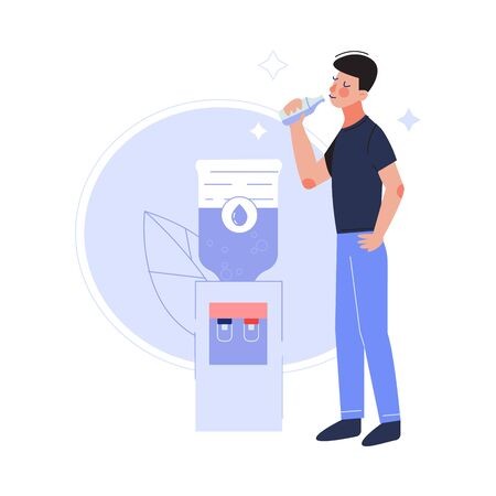 Young Man Drinking Fresh Clean Water at the Cooler in the Office Vector Illustration