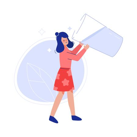 Girl Drinking Fresh Clean Water from Big Transparent Glass to Keep Body Healthy Vector Illustration Illustration