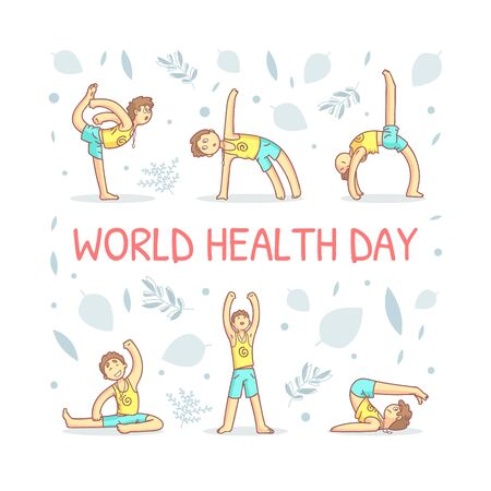 World Health Day Banner Template with Guy Performing Physical Exercises Vector Illustration