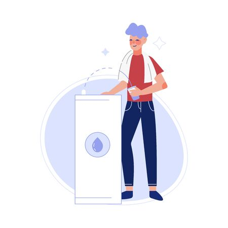 Male Athlete Drinking Fresh Clean Water at the Water Cooler Vector Illustration Stock fotó - 133699869