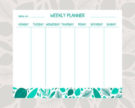 Weekly Planner Template, Organizer and Schedule with Place for Notes Vector Illustration