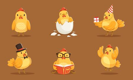 Set Of Animated Baby Chickens In Different Poses Vector Illustration Cartoon Character