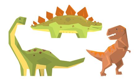 Set With Different Types Of Dinosaurus Vector Illustration Cartoon Character Ilustração
