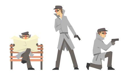 Cartoon Private Detective Character Doing Daily Work Vector Illustration Set Isolated On White Background 向量圖像