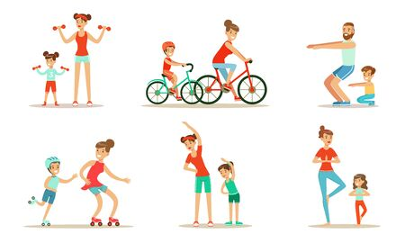 Parents With Children Doing Sports Exercises Together Vector Illustration Set Isolated On White Background