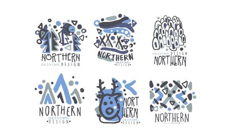 Northern Land Label Template with Original Design Vector Set