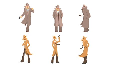Alte und junge Geheimagenten und Privatdetektive in verschiedenen Aktionen Vektor-Illustration-Set isoliert auf weißem Hintergrund Vektorgrafik