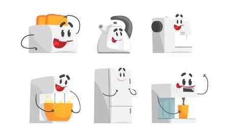 Cartoon Smiling Household Appliances Doing Something Vector Set