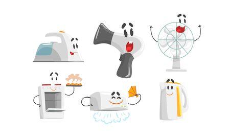 Cartoon Smiling Household Appliances Doing Something Vector Set Vektorové ilustrace